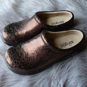 Alegria Jacquard Metallic Brown Slip On Shoes 41